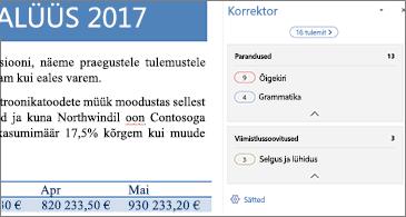 Korrektoripaan, mis näitab avatud Wordi dokumendi õigekeelsusprobleeme