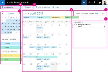 Kalendri abil saate hallata koosolekuid ja muid sündmusi.