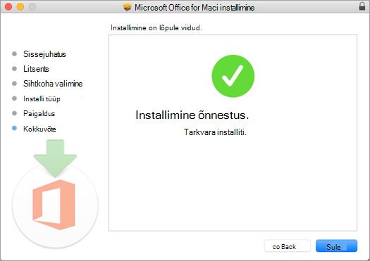 Kuvab installitoimingu lõpulehe, mis näitab, et installimine õnnestus.