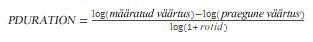 Funktsiooni PDURATION võrrand