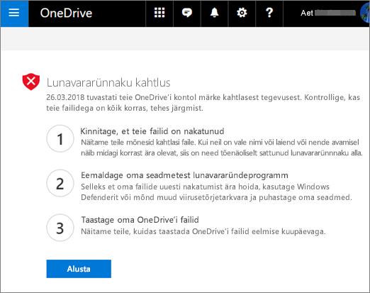 Pilt OneDrive ' i veebisaidil avastatud Ransomware märkidest