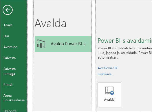 Avaldamise menüü rakenduses Excel 2016, kus on näha Power BI-s avaldamise nupp