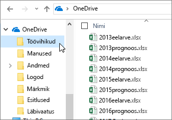 Windows Explorer, OneDrive'i kaust, Exceli failid