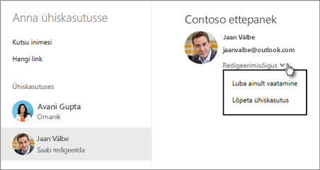 OneDrive'is ühiskasutusse antud õiguste redigeerimine