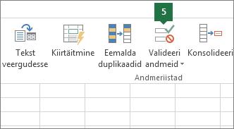 Ripploendi valideerimiseks valige Andmed > Andmevalideerimine Excelis