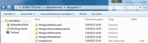Windows Exploreri kuvatõmmis , millel on kujutatud veebilahenduspakett (.wsp).