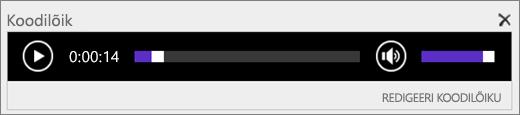 Kuvatõmmis SharePoint Online'i heli juhtriba koodilõigust, mis näitab helifaili kestuse kogupikkust ning võimaldab faili esitamist alustada ja peatada.