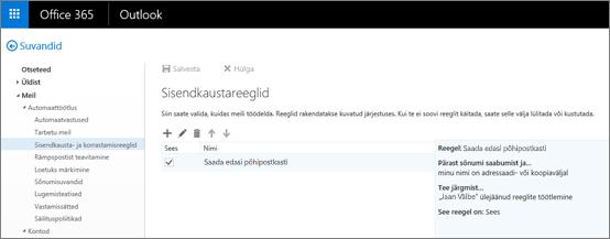 """Kuvab Office 365 meilisuvandi """"Sisendkausta- ja korrastamisreeglid"""" ala Sisendkaustareeglid. Saate meilisõnumite käitlemiseks luua, redigeerida ja kustutada sisendkaustareegleid."""