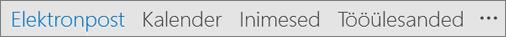 Outlooki kiirpääsuriba, millel on nimega näidatud nupud Meil, Kalender, Inimesed ja Ülesanded ning Rohkem suvandeid (kolmikpunkt)