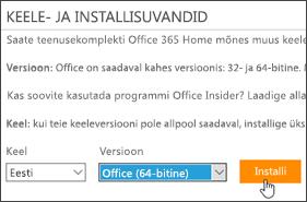 Kuvatõmmis, millel on näha keele-ja versioonisuvandid ning installimisnupp.