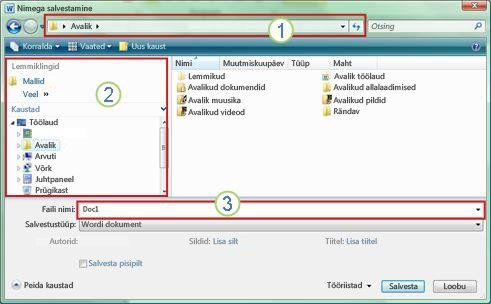 """Windows Vista ja Windows 7 dialoogiboks """"Nimega salvestamine"""""""