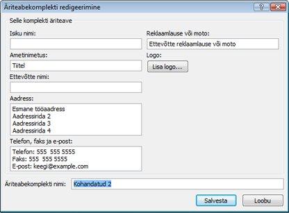 Uue äriteabekomplekti loomine rakenduses Publisher 2010