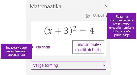 Võrrandi matemaatika tööpaanil