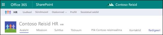 SharePointi jaoturi saidil ühiskasutusse antud navigeerimine