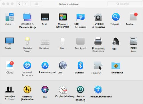 Maci süsteemieelistuste kuvatõmmis