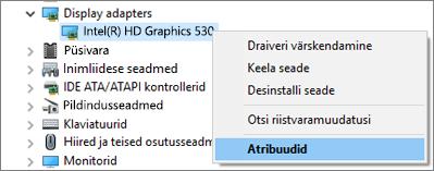 Kuvaadapteri draiverite haldamiseks avage Windowsi seadmehaldur.
