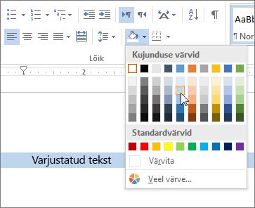Varjustuse värvi rakendamine tekstile