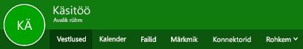 Outlooki veebirakenduse rühmade menüü