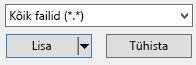 """Failitüüpi filter dialoogiboksis Video lisamine on suvand """"Kõik failid""""."""