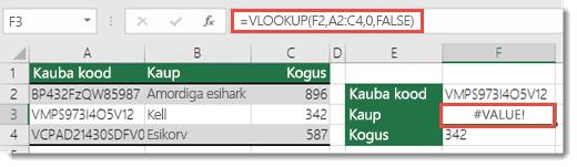 Viga #VALUE! kuvatakse siis, kui col_index_argument on väiksem kui 1