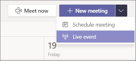 """Uus koosolek – nupp """"reaalajas sündmus"""""""