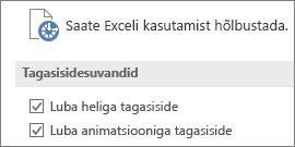 Exceli hõlbustussätete osaline vaade