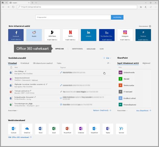 Kuvatõmmis Office 365 vahekaardiga Edge'ist