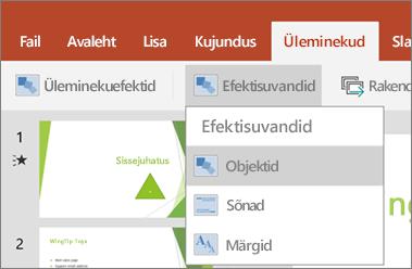 Kuvab rakenduses PowerPoint for Android menüü Üleminekud > Efektisuvandid.