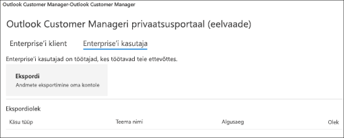 Kuvatõmmis: Eksportimine Outlooki kliendi halduri Töötajaandmete