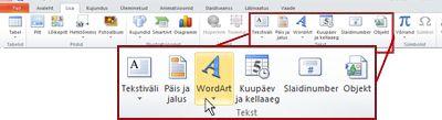 PowerPoint 2010 menüü Lisa, mille WordArt-objekti lisamise nupp on esile tõstetud.