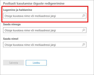 Kuvatõmmis: lisage kasutajaid selle kasutaja postkasti lugemiseks ja haldamiseks