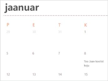 Kalendri Mall veebirakenduses Excel