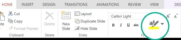 Nupp tekst marker pole rakenduses PowerPoint Online lindi menüü Avaleht