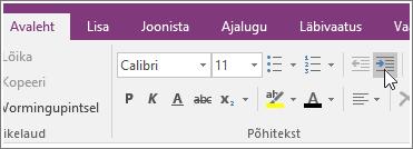 """Kuvatõmmis rakenduse OneNote 2016 nupust """"Suurenda taanet""""."""