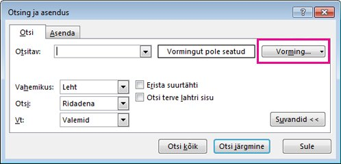 Dialoogiboks Otsing