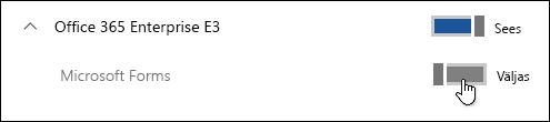 Microsoft Formsi funktsiooni lubamise või keelamise tumblernupp