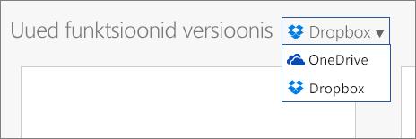 Pilt, kus Dropbox on lisatud nende kohtade hulka, kus saate Office Online'is uusi faile luua