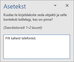Näide halvast aseteksti rakenduses Word for Windows.