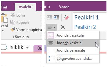 """Kuvatõmmis nupust """"Rööpjoonda"""" rakenduses OneNote 2016."""