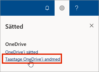 OneDrive for Businessi menüü Sätted veebis, kus on esile tõstetud käsk Taasta