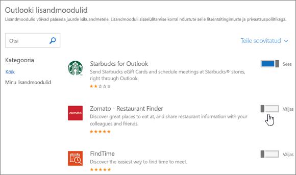 """Kuvatõmmis lehest """"Outlooki lisandmoodulid"""", kus kuvatakse installitud lisandmoodulid ning võimalused lisandmooduleid otsida ja juurde valida"""