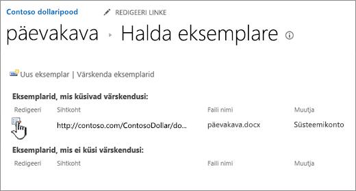Klõpsake nuppu Redigeeri failide aknas haldamine