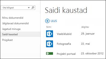 Teie poolt jälgitavate SharePoint Online'i saitide loendi vaatamiseks valige Office 365 kiirtoiminguribal Saidikaustad.