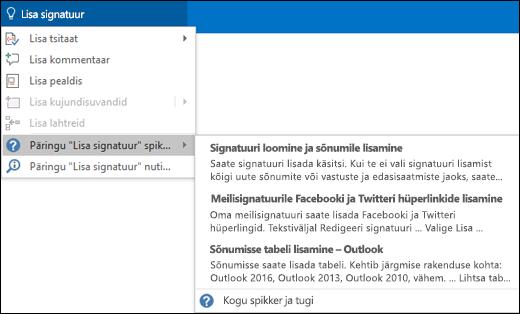 """Tippige soovitud tegevus Outlookis väljale """"Mida soovite teha?"""" ja teid aidatakse selle ülesande tegemisel"""