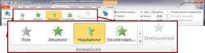 PowerPoint 2010 lindi menüü Animatsioonid