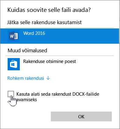 "Windowsi dialoogiboks ""Ava programmiga"""