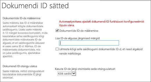 Dokumendi ID-de määramine on lehe dokumendi ID sätted