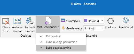 "Outlooki suvand ""Luba edasisaatmine"""