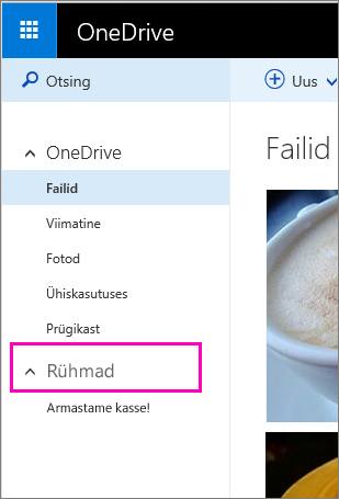 Windows Live'i rühmad OneDrive'is