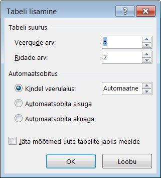 """Dialoogiboksi """"Tabeli lisamine"""" abil saate tabeli ilmet paremini hallata."""
